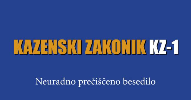 Kazenski zakonik - KZ-1 N